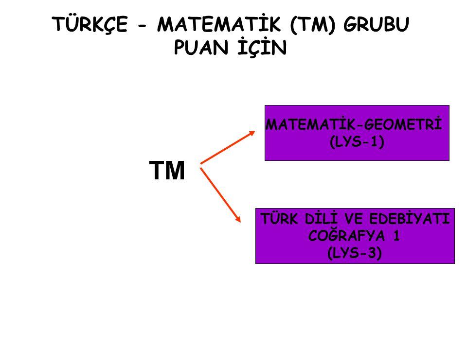 TÜRKÇE - MATEMATİK (TM) GRUBU PUAN İÇİN TÜRK DİLİ VE EDEBİYATI COĞRAFYA 1 (LYS-3) MATEMATİK-GEOMETRİ (LYS-1) TM