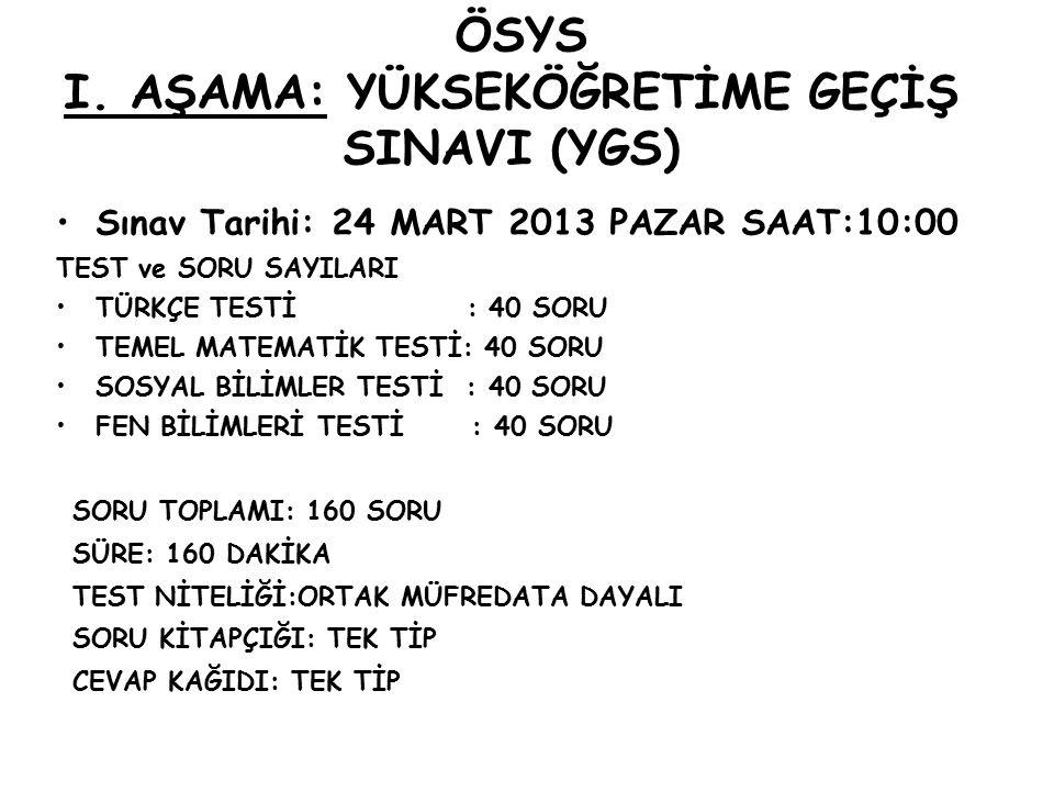 ÖSYS I. AŞAMA: YÜKSEKÖĞRETİME GEÇİŞ SINAVI (YGS) Sınav Tarihi: 24 MART 2013 PAZAR SAAT:10:00 TEST ve SORU SAYILARI TÜRKÇE TESTİ : 40 SORU TEMEL MATEMA