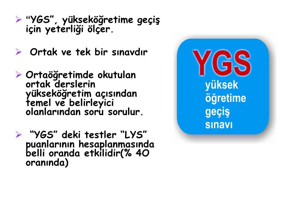 """ """" YGS"""", yükseköğretime geçiş için yeterliği ölçer.  Ortak ve tek bir sınavdır  Ortaöğretimde okutulan ortak derslerin yükseköğretim açısından teme"""