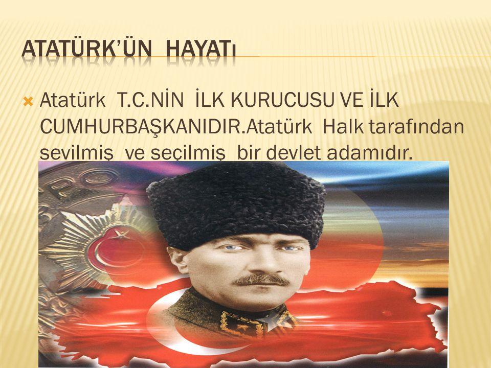  Atatürk 1881 yılında selanik'te doğdu.Anne ve babası adını Mustafa koydular.Kemal adını Mustafa öğretmeninden aldı.