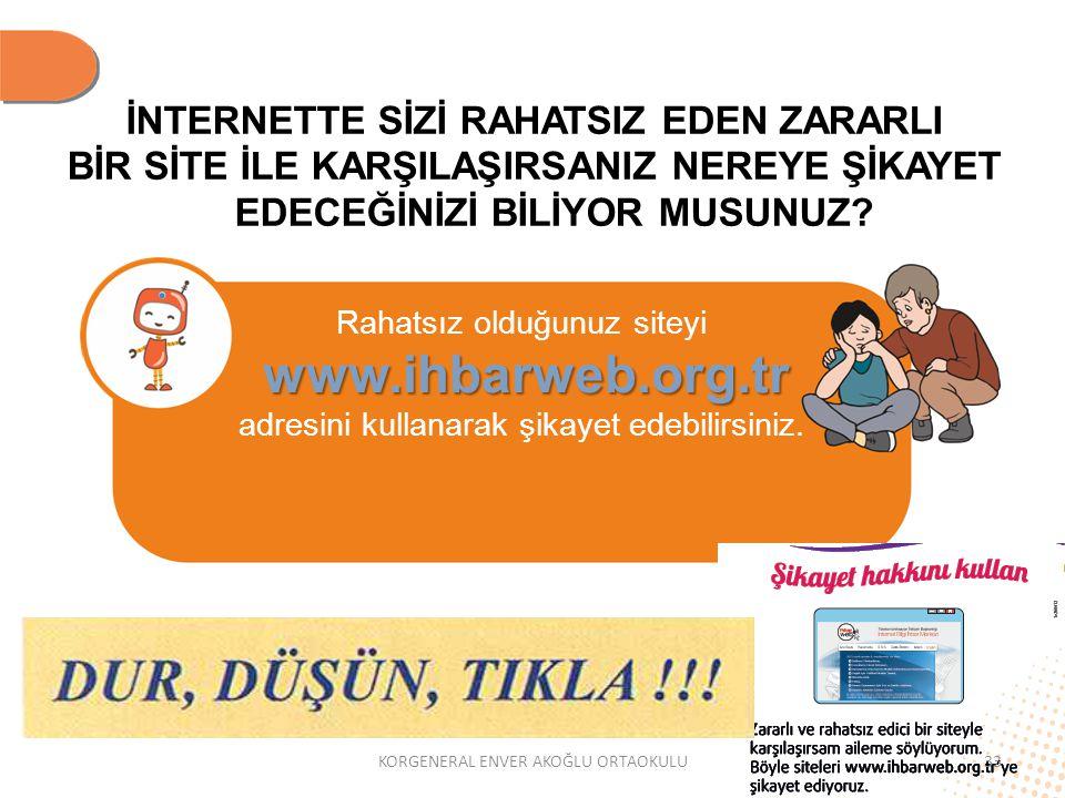 İNTERNETTE SİZİ RAHATSIZ EDEN ZARARLI BİR SİTE İLE KARŞILAŞIRSANIZ NEREYE ŞİKAYET EDECEĞİNİZİ BİLİYOR MUSUNUZ? Rahatsız olduğunuz siteyi www.ihbarweb.