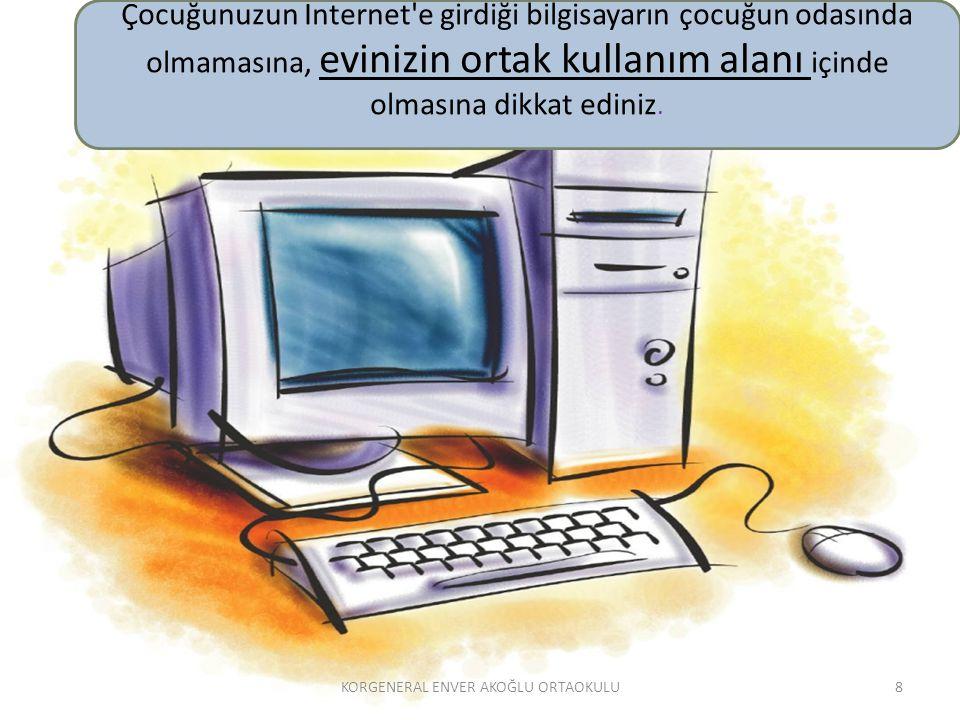Çocuğunuzun Internet'e girdiği bilgisayarın çocuğun odasında olmamasına, evinizin ortak kullanım alanı içinde olmasına dikkat ediniz. 8KORGENERAL ENVE