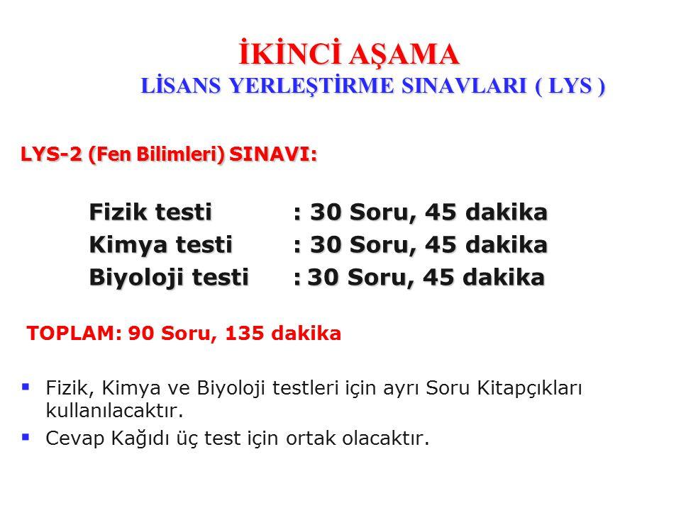 LYS-2 (Fen Bilimleri) SINAVI: Fizik testi: 30 Soru, 45 dakika Kimya testi : 30 Soru, 45 dakika Biyoloji testi : 30 Soru, 45 dakika TOPLAM: 90 Soru, 13