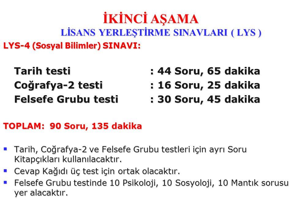 LYS-4 (Sosyal Bilimler) SINAVI: Tarih testi : 44 Soru, 65 dakika Coğrafya-2 testi: 16 Soru, 25 dakika Felsefe Grubu testi : 30 Soru, 45 dakika TOPLAM: 90 Soru, 135 dakika  Tarih, Coğrafya-2 ve Felsefe Grubu testleri için ayrı Soru Kitapçıkları kullanılacaktır.