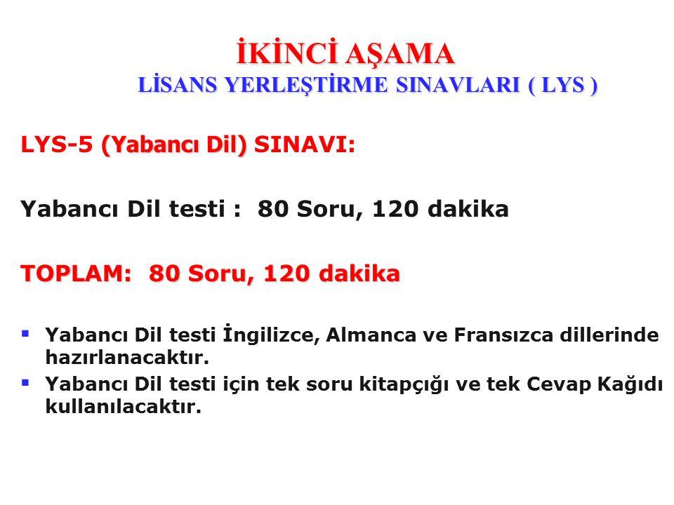 (Yabancı Dil) LYS-5 (Yabancı Dil) SINAVI: Yabancı Dil testi : 80 Soru, 120 dakika TOPLAM: 80 Soru, 120 dakika   Yabancı Dil testi İngilizce, Almanca