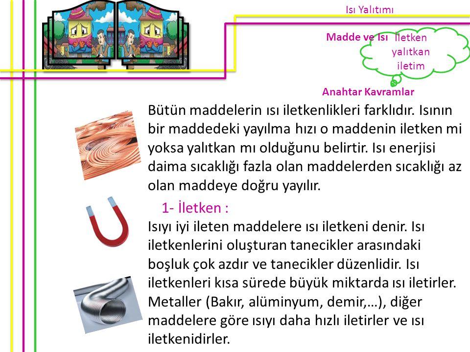 2- İletim : Maddelerdeki ısı akışını hızlandırmak için iletken malzemeler kullanılmasına iletim denir.