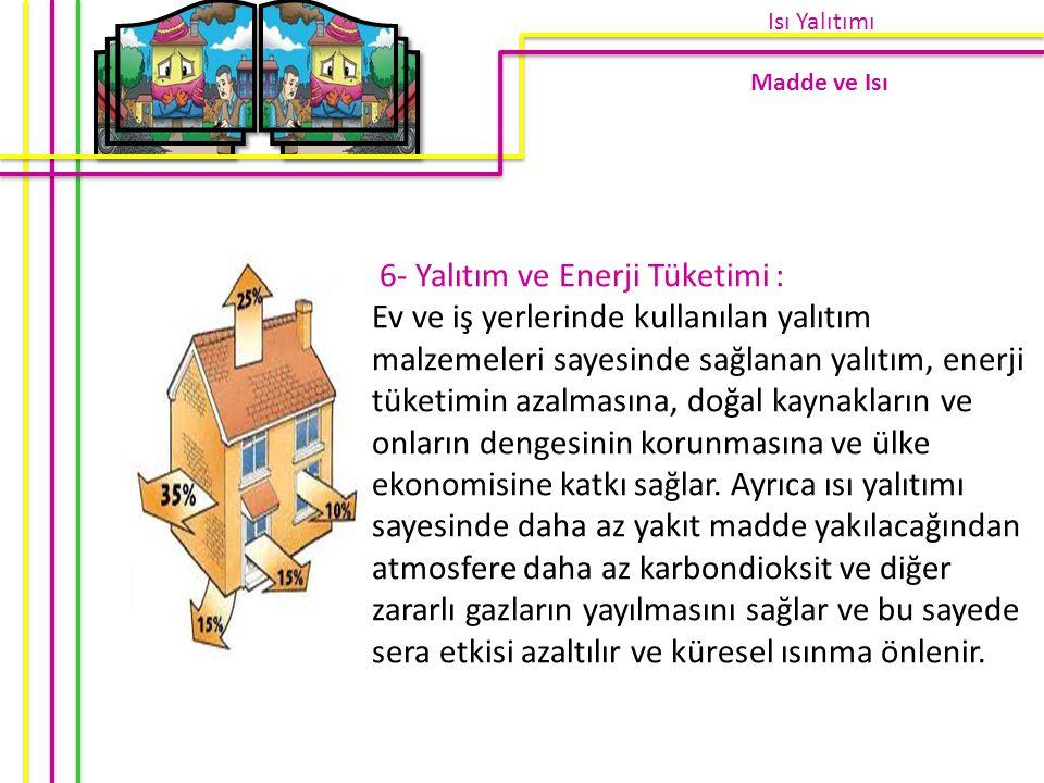 6- Yalıtım ve Enerji Tüketimi : Ev ve iş yerlerinde kullanılan yalıtım malzemeleri sayesinde sağlanan yalıtım, enerji tüketimin azalmasına, doğal kayn
