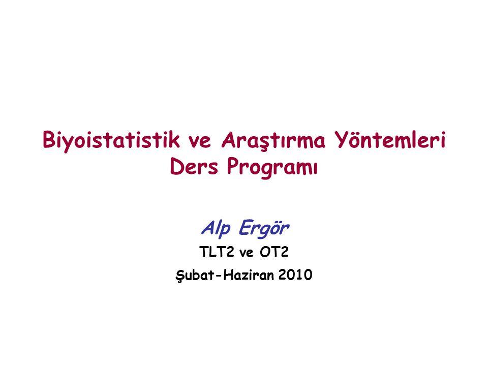 Biyoistatistik ve Araştırma Yöntemleri Ders Programı Alp Ergör TLT2 ve OT2 Şubat-Haziran 2010