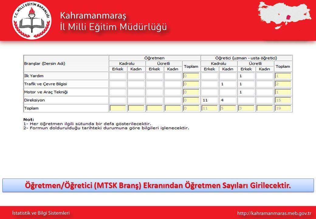 Öğretmen/Öğretici (MTSK Branş) Ekranından Öğretmen Sayıları Girilecektir.