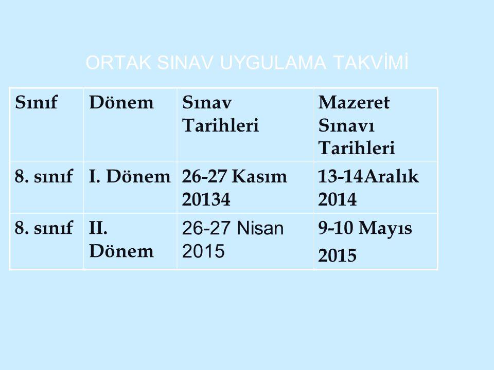 ORTAK SINAV UYGULAMA TAKVİMİ SınıfDönemSınav Tarihleri Mazeret Sınavı Tarihleri 8. sınıfI. Dönem26-27 Kasım 20134 13-14Aralık 2014 8. sınıfII. Dönem 2