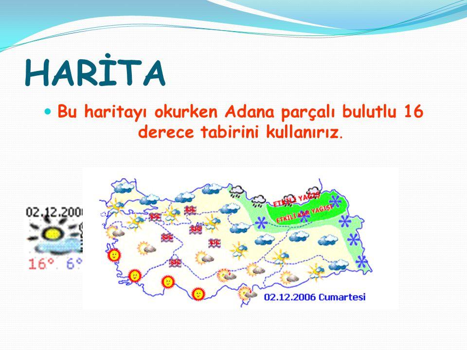 HARİTA Bu haritayı okurken Adana parçalı bulutlu 16 derece tabirini kullanırız.