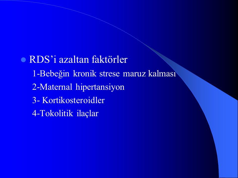 RDS'i azaltan faktörler 1-Bebeğin kronik strese maruz kalması 2-Maternal hipertansiyon 3- Kortikosteroidler 4-Tokolitik ilaçlar