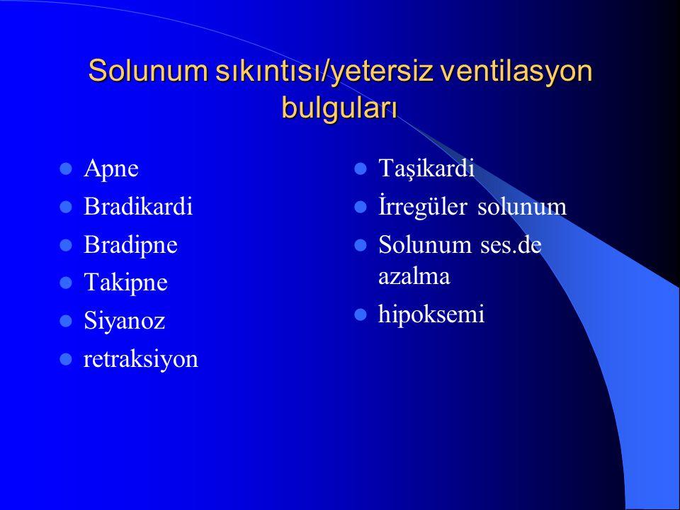 Solunum sıkıntısı/yetersiz ventilasyon bulguları Apne Bradikardi Bradipne Takipne Siyanoz retraksiyon Taşikardi İrregüler solunum Solunum ses.de azalm