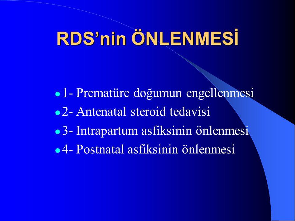 RDS'nin ÖNLENMESİ 1- Prematüre doğumun engellenmesi 2- Antenatal steroid tedavisi 3- Intrapartum asfiksinin önlenmesi 4- Postnatal asfiksinin önlenmes