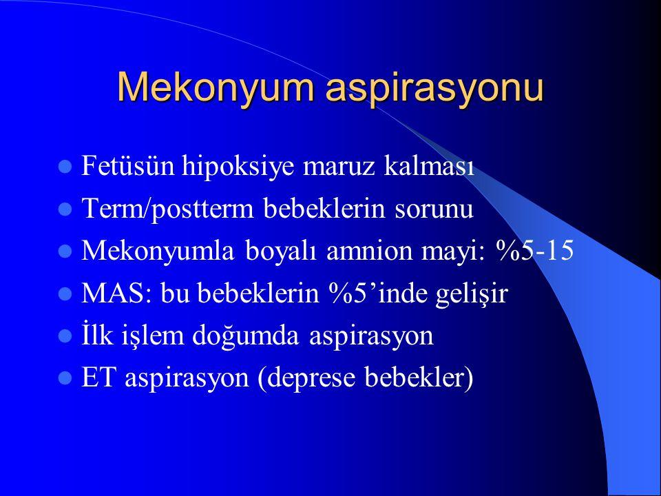 Mekonyum aspirasyonu Fetüsün hipoksiye maruz kalması Term/postterm bebeklerin sorunu Mekonyumla boyalı amnion mayi: %5-15 MAS: bu bebeklerin %5'inde g