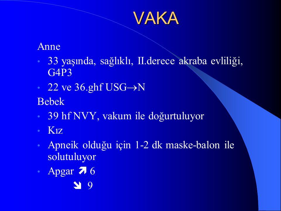 VAKA Anne 33 yaşında, sağlıklı, II.derece akraba evliliği, G4P3 22 ve 36.ghf USG  N Bebek 39 hf NVY, vakum ile doğurtuluyor Kız Apneik olduğu için 1-