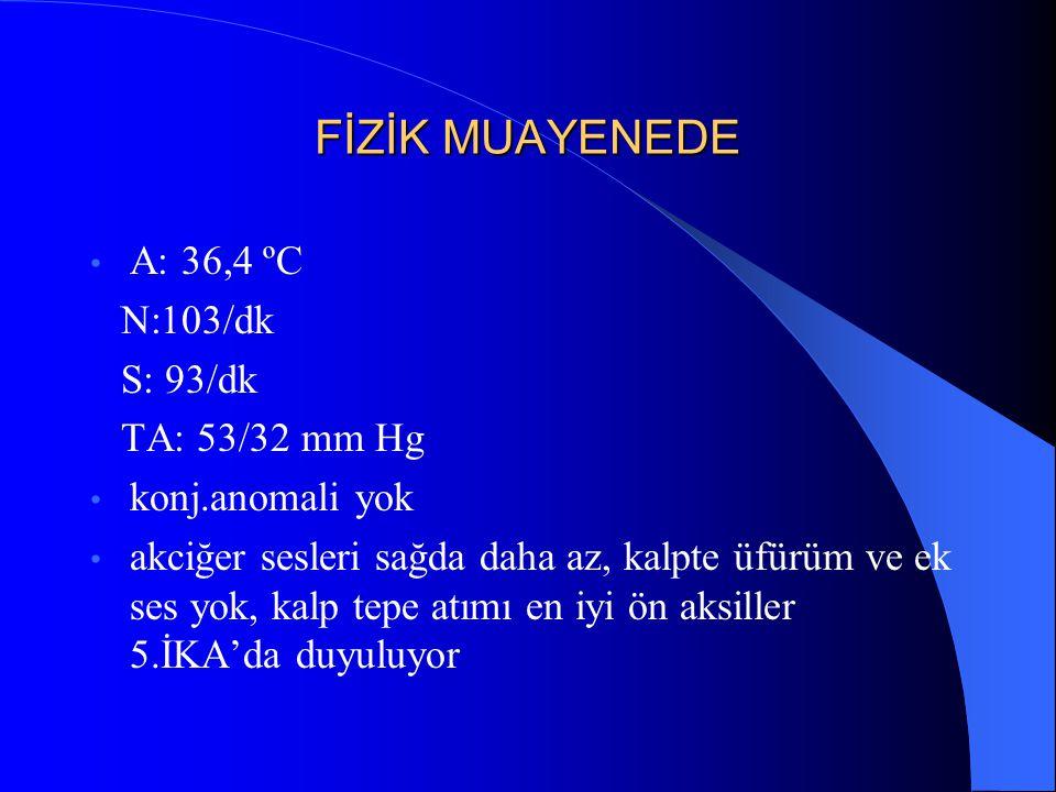 FİZİK MUAYENEDE A: 36,4 ºC N:103/dk S: 93/dk TA: 53/32 mm Hg konj.anomali yok akciğer sesleri sağda daha az, kalpte üfürüm ve ek ses yok, kalp tepe at