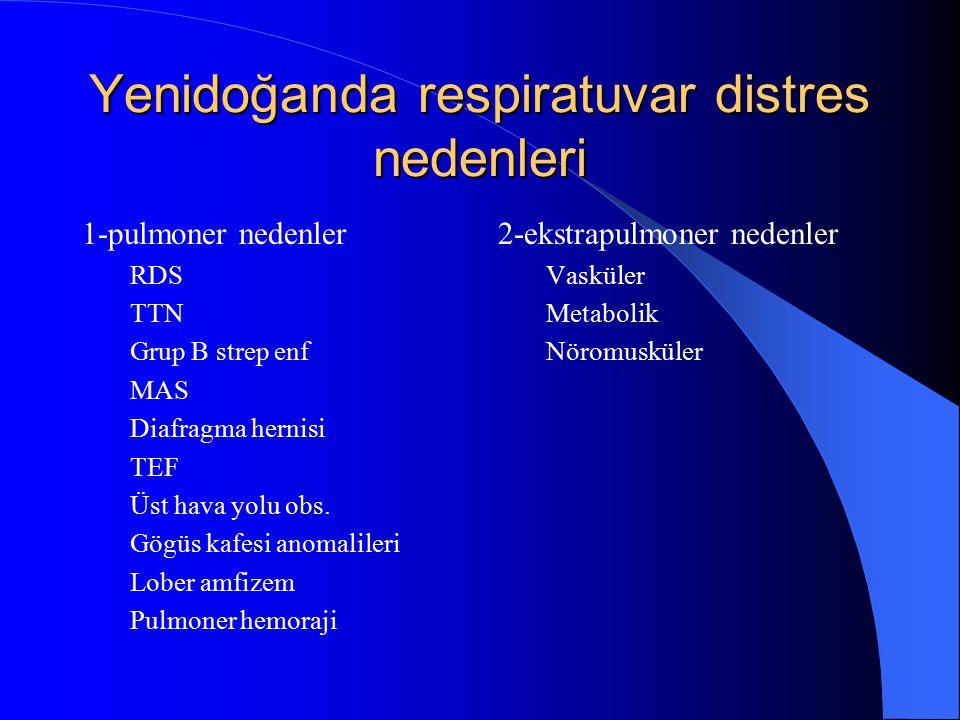 Yenidoğanda respiratuvar distres nedenleri 1-pulmoner nedenler RDS TTN Grup B strep enf MAS Diafragma hernisi TEF Üst hava yolu obs. Gögüs kafesi anom