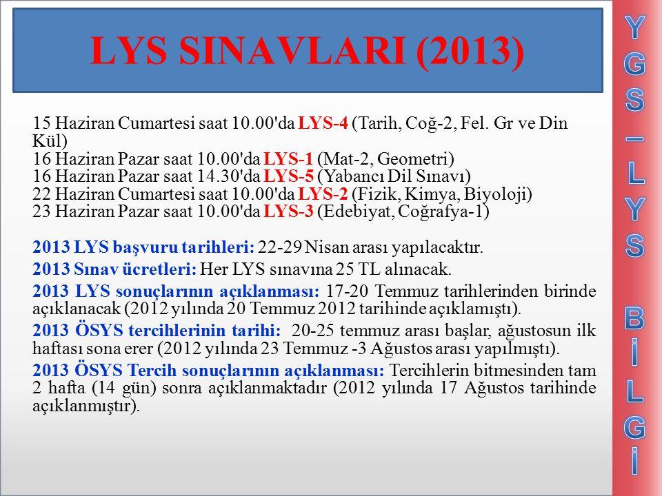 LYS SINAVLARI (2013) 15 Haziran Cumartesi saat 10.00 da LYS-4 (Tarih, Coğ-2, Fel.