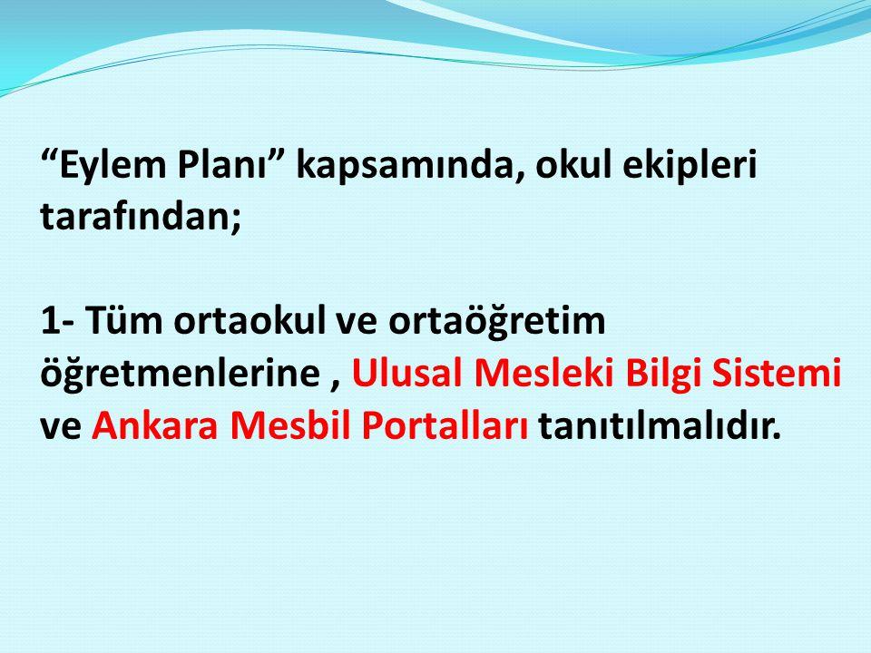 Eylem Planı kapsamında, okul ekipleri tarafından; 1- Tüm ortaokul ve ortaöğretim öğretmenlerine, Ulusal Mesleki Bilgi Sistemi ve Ankara Mesbil Portalları tanıtılmalıdır.