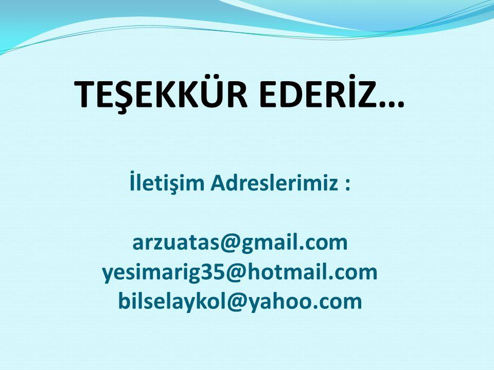TEŞEKKÜR EDERİZ… İletişim Adreslerimiz : arzuatas@gmail.com yesimarig35@hotmail.com bilselaykol@yahoo.com