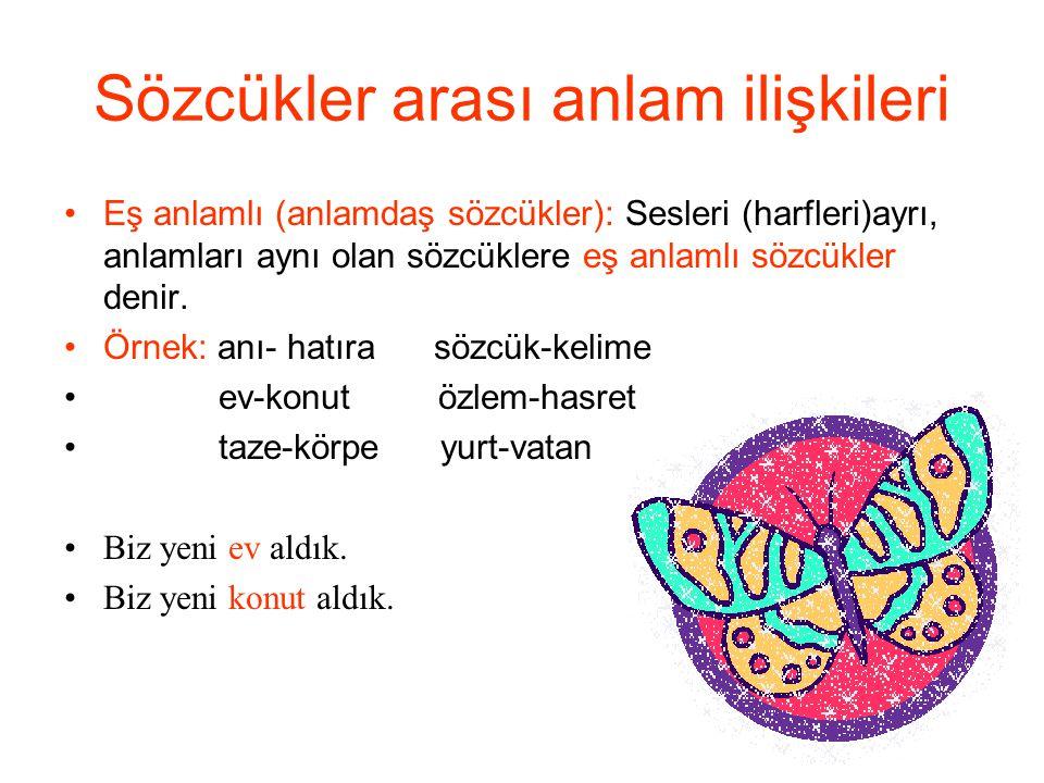 Sözcükler arası anlam ilişkileri Eş anlamlı (anlamdaş sözcükler): Sesleri (harfleri)ayrı, anlamları aynı olan sözcüklere eş anlamlı sözcükler denir. Ö