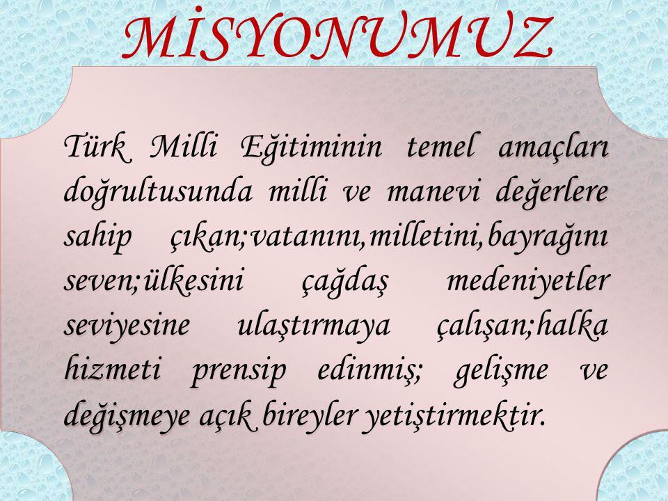 MİSYONUMUZ Türk Milli Eğitiminin temel amaçları doğrultusunda milli ve manevi değerlere sahip çıkan;vatanını,milletini,bayrağını seven;ülkesini çağdaş