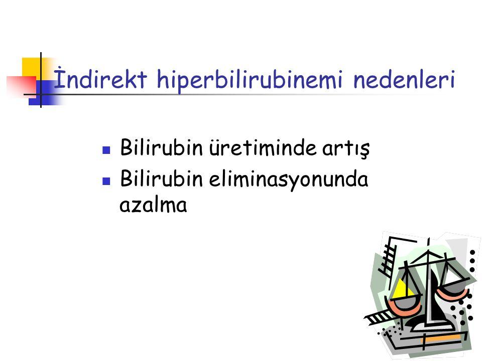 Bilirubin üretiminde artış Bilirubin eliminasyonunda azalma İndirekt hiperbilirubinemi nedenleri