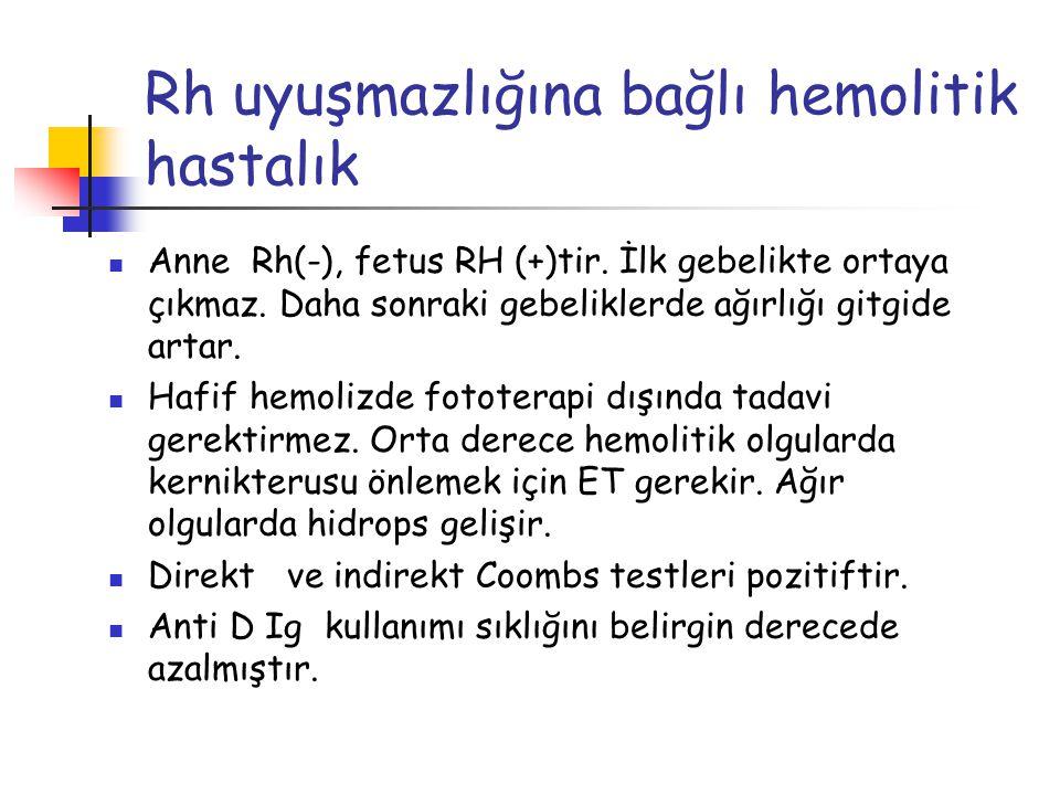 Rh uyuşmazlığına bağlı hemolitik hastalık Anne Rh(-), fetus RH (+)tir. İlk gebelikte ortaya çıkmaz. Daha sonraki gebeliklerde ağırlığı gitgide artar.