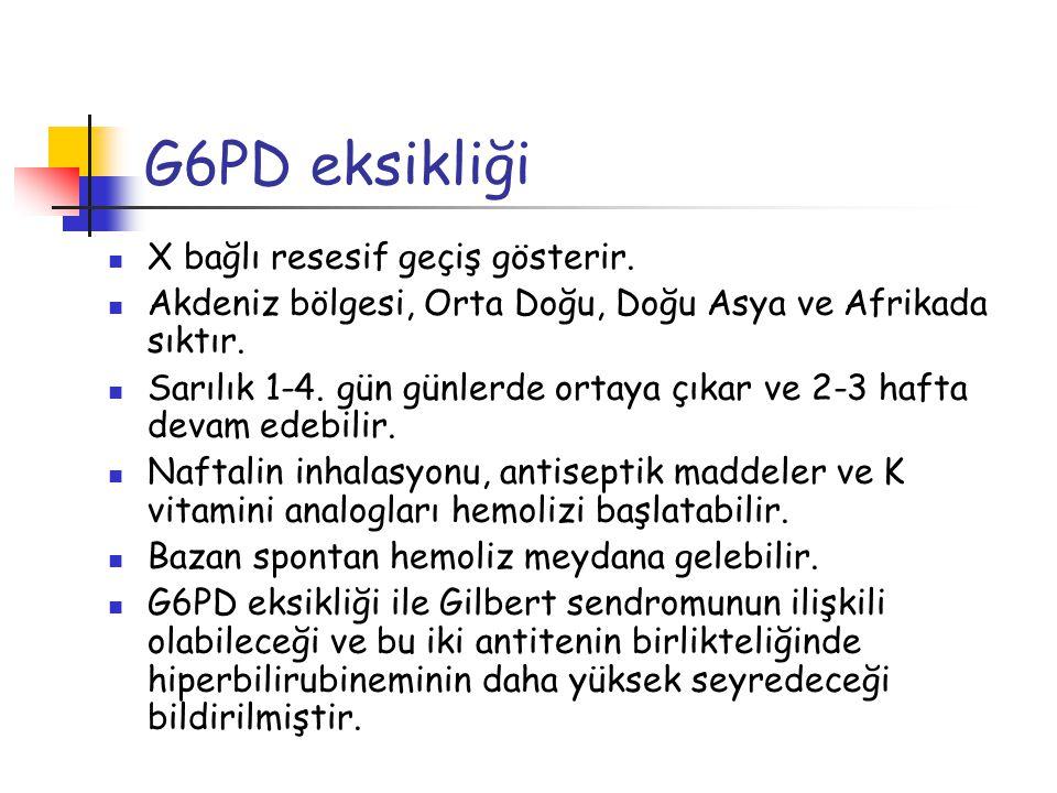 G6PD eksikliği X bağlı resesif geçiş gösterir. Akdeniz bölgesi, Orta Doğu, Doğu Asya ve Afrikada sıktır. Sarılık 1-4. gün günlerde ortaya çıkar ve 2-3