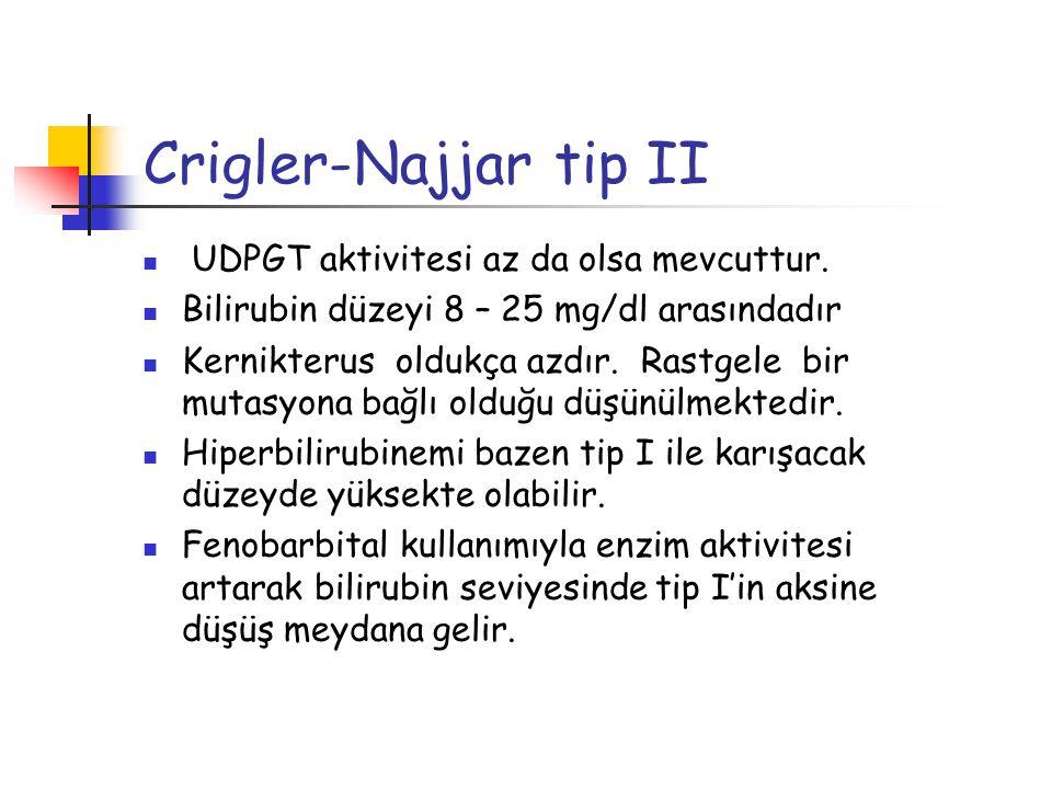 Crigler-Najjar tip II UDPGT aktivitesi az da olsa mevcuttur. Bilirubin düzeyi 8 – 25 mg/dl arasındadır Kernikterus oldukça azdır. Rastgele bir mutasyo