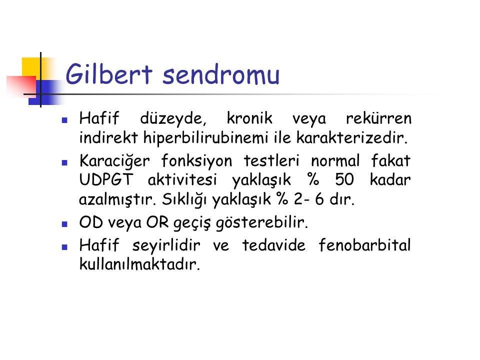 Gilbert sendromu Hafif düzeyde, kronik veya rekürren indirekt hiperbilirubinemi ile karakterizedir. Karaciğer fonksiyon testleri normal fakat UDPGT ak