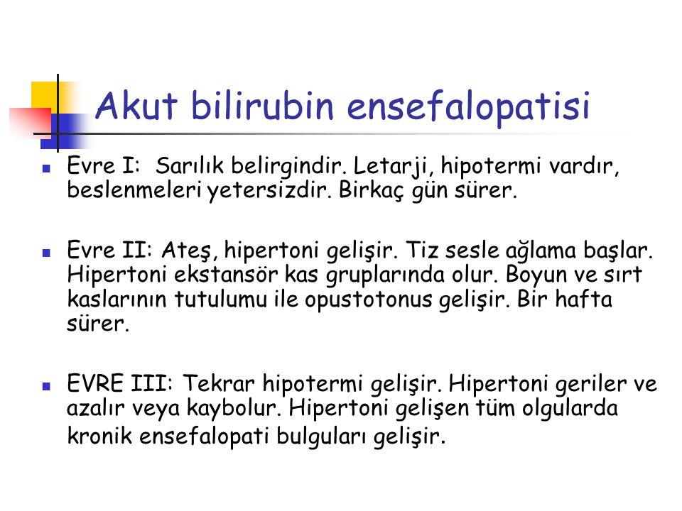 Akut bilirubin ensefalopatisi Evre I: Sarılık belirgindir. Letarji, hipotermi vardır, beslenmeleri yetersizdir. Birkaç gün sürer. Evre II: Ateş, hiper