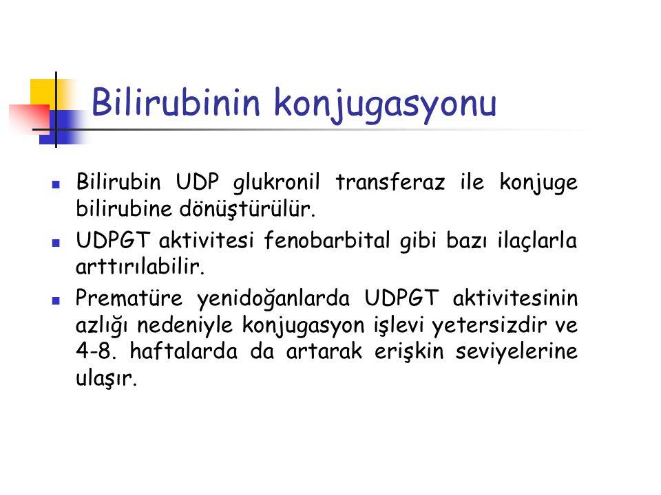 Bilirubinin konjugasyonu Bilirubin UDP glukronil transferaz ile konjuge bilirubine dönüştürülür. UDPGT aktivitesi fenobarbital gibi bazı ilaçlarla art