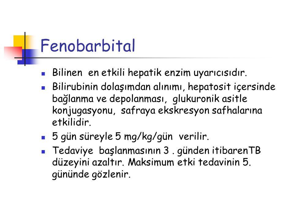 Fenobarbital Bilinen en etkili hepatik enzim uyarıcısıdır. Bilirubinin dolaşımdan alınımı, hepatosit içersinde bağlanma ve depolanması, glukuronik asi
