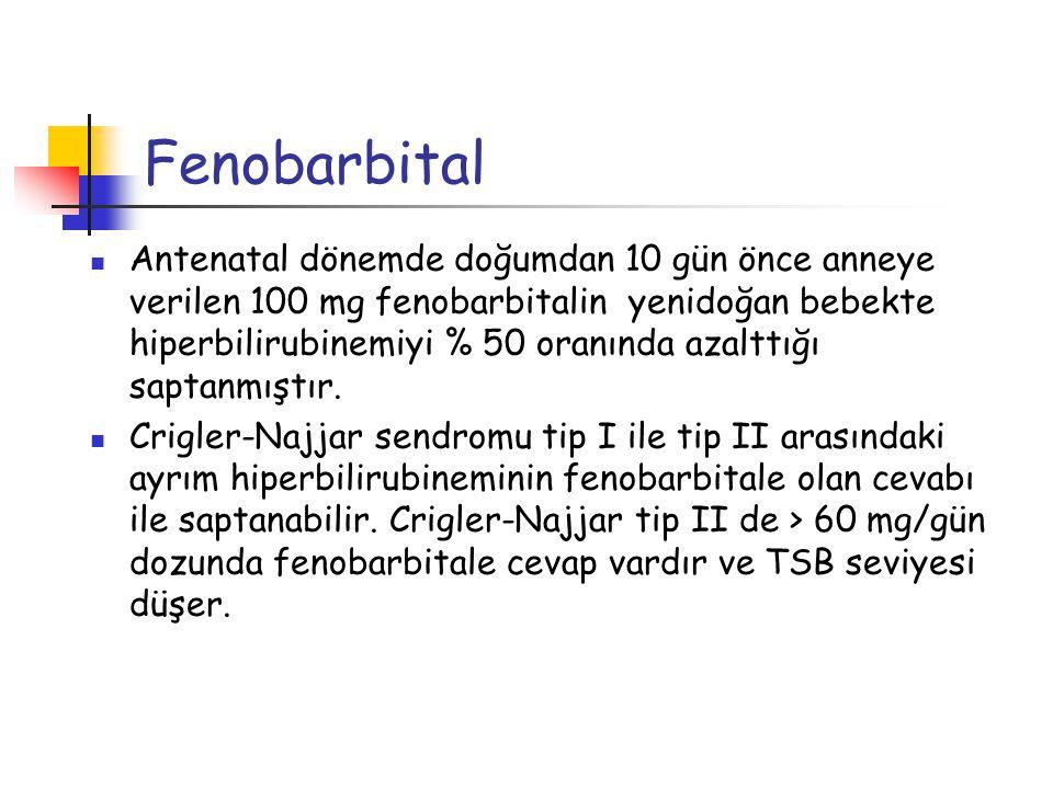 Fenobarbital Antenatal dönemde doğumdan 10 gün önce anneye verilen 100 mg fenobarbitalin yenidoğan bebekte hiperbilirubinemiyi % 50 oranında azalttığı