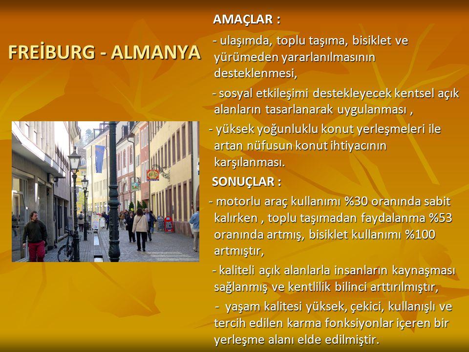FREİBURG - ALMANYA FREİBURG - ALMANYA AMAÇLAR : AMAÇLAR : - ulaşımda, toplu taşıma, bisiklet ve yürümeden yararlanılmasının desteklenmesi, - ulaşımda,