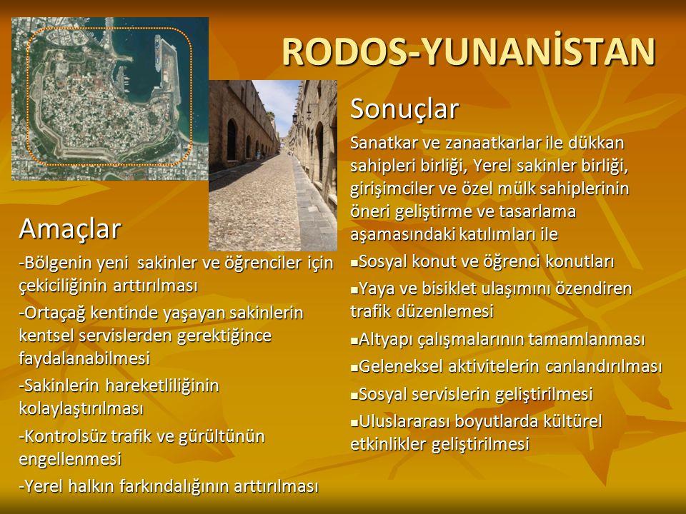RODOS-YUNANİSTAN Amaçlar -Bölgenin yeni sakinler ve öğrenciler için çekiciliğinin arttırılması -Ortaçağ kentinde yaşayan sakinlerin kentsel servislerd