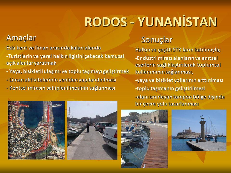 RODOS - YUNANİSTAN Amaçlar Eski kent ve liman arasında kalan alanda -Turistlerin ve yerel halkın ilgisini çekecek kamusal açık alanlar yaratmak - Yaya