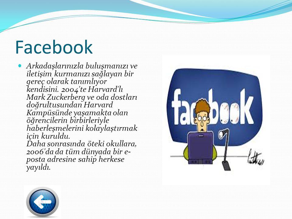 Facebook Arkadaşlarınızla buluşmanızı ve iletişim kurmanızı sağlayan bir gereç olarak tanımlıyor kendisini.