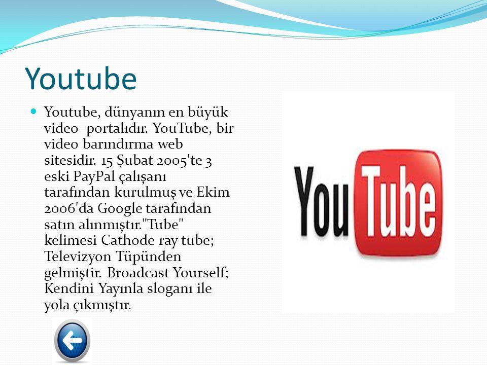 Youtube Youtube, dünyanın en büyük video portalıdır.