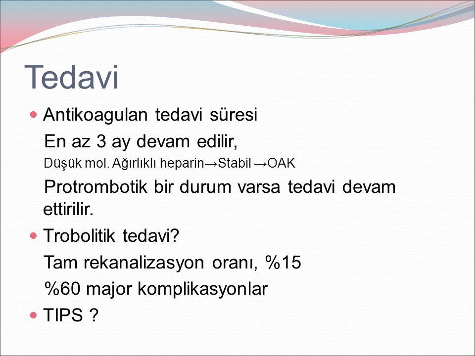 Tedavi Antikoagulan tedavi süresi En az 3 ay devam edilir, Düşük mol. Ağırlıklı heparin→Stabil →OAK Protrombotik bir durum varsa tedavi devam ettirili