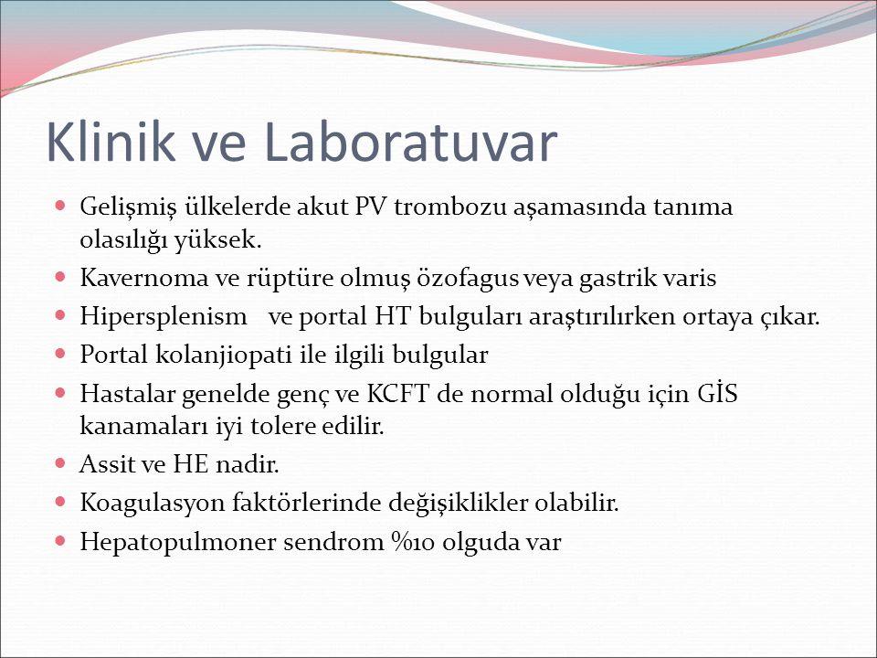 Klinik ve Laboratuvar Gelişmiş ülkelerde akut PV trombozu aşamasında tanıma olasılığı yüksek. Kavernoma ve rüptüre olmuş özofagus veya gastrik varis H
