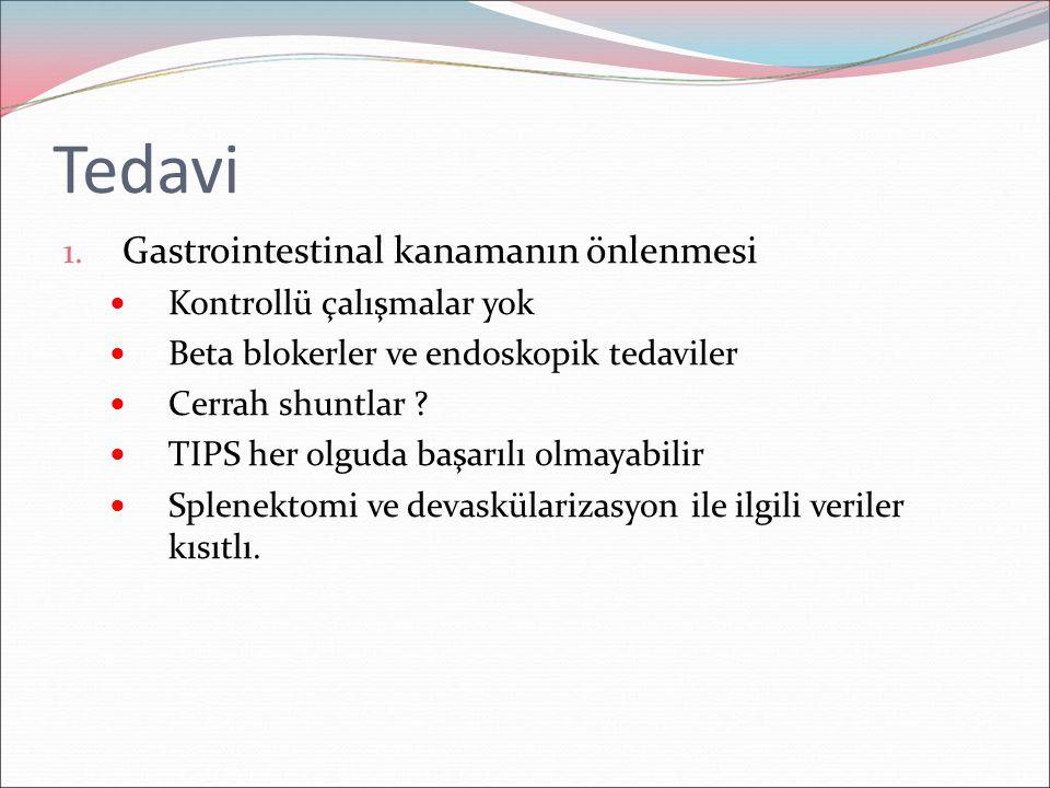 Tedavi 1. Gastrointestinal kanamanın önlenmesi Kontrollü çalışmalar yok Beta blokerler ve endoskopik tedaviler Cerrah shuntlar ? TIPS her olguda başar