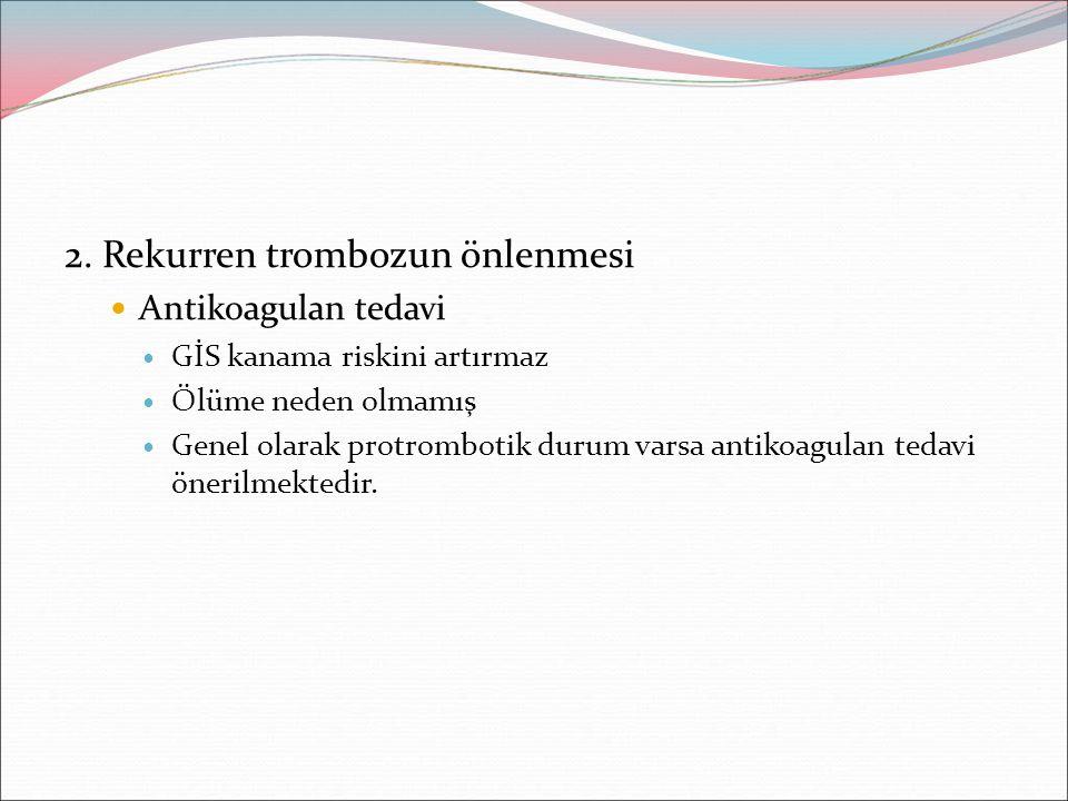 2. Rekurren trombozun önlenmesi Antikoagulan tedavi GİS kanama riskini artırmaz Ölüme neden olmamış Genel olarak protrombotik durum varsa antikoagulan
