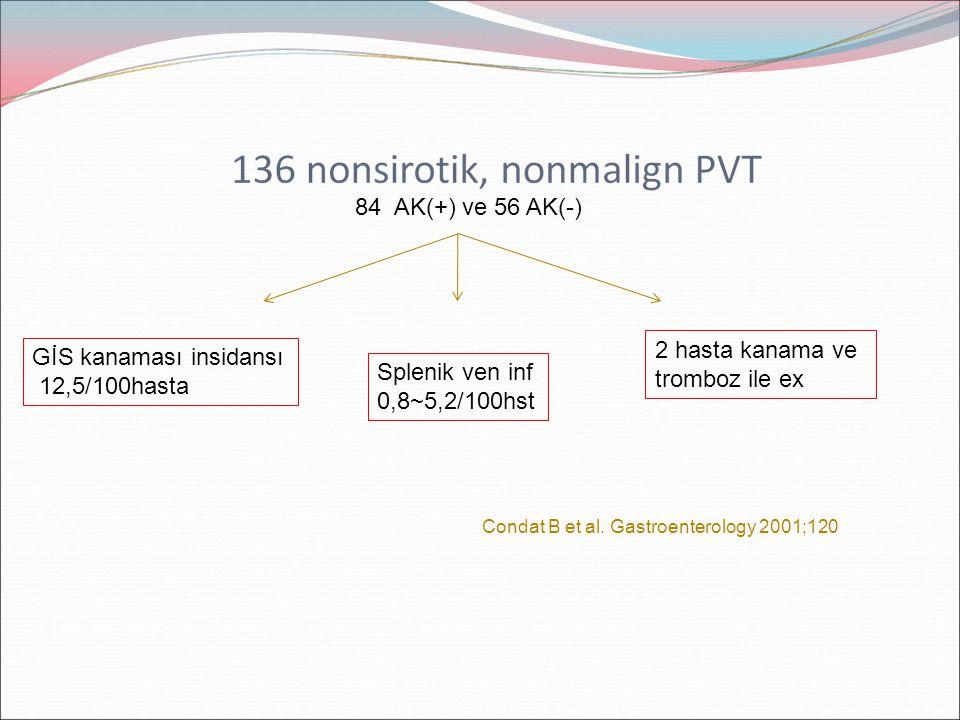 84 AK(+) ve 56 AK(-) GİS kanaması insidansı 12,5/100hasta Splenik ven inf 0,8~5,2/100hst 2 hasta kanama ve tromboz ile ex Condat B et al. Gastroentero