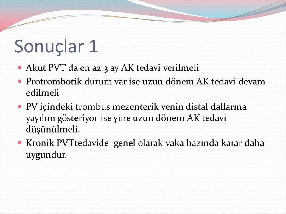 Sonuçlar 1 Akut PVT da en az 3 ay AK tedavi verilmeli Protrombotik durum var ise uzun dönem AK tedavi devam edilmeli PV içindeki trombus mezenterik ve