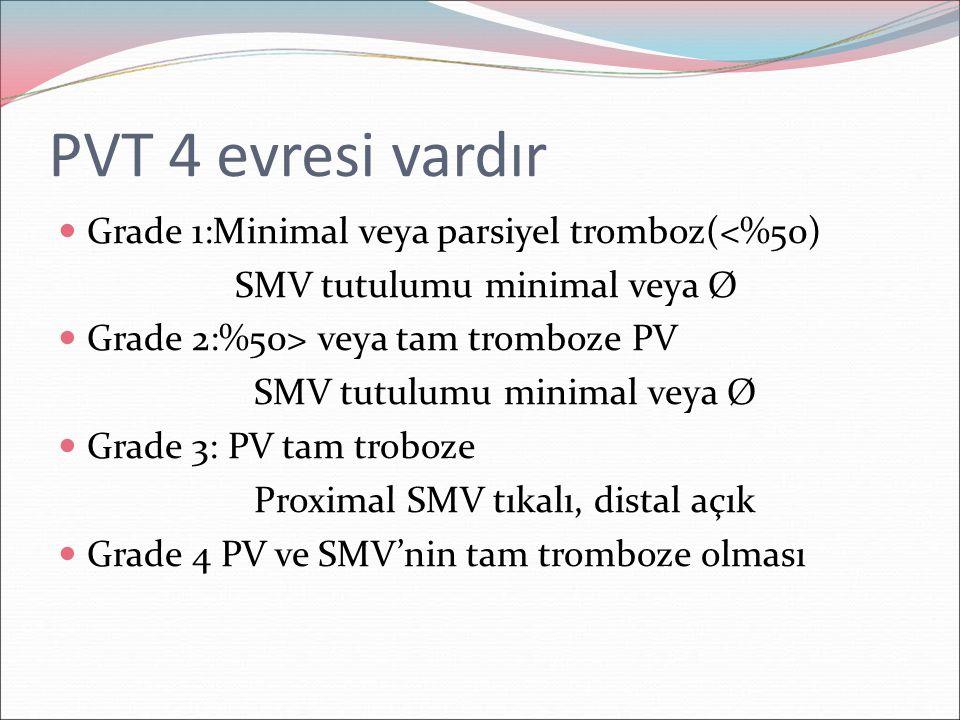 PVT 4 evresi vardır Grade 1:Minimal veya parsiyel tromboz(<%50) SMV tutulumu minimal veya Ø Grade 2:%50> veya tam tromboze PV SMV tutulumu minimal vey