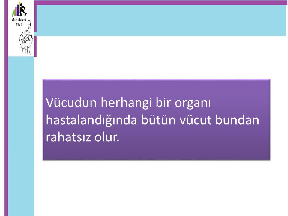 Vücudun herhangi bir organı hastalandığında bütün vücut bundan rahatsız olur.