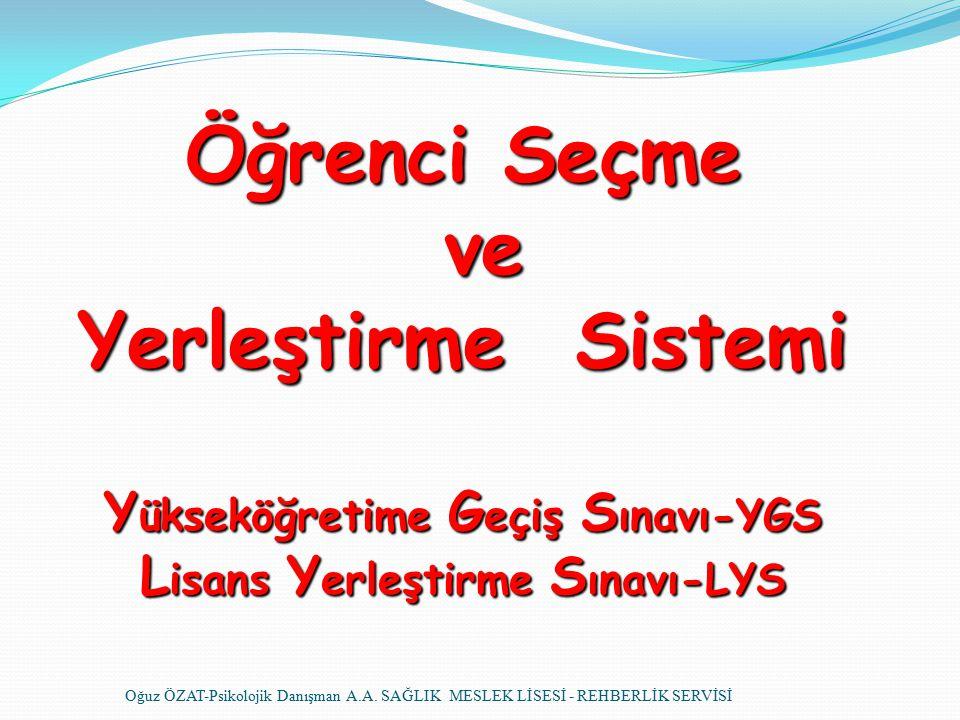 Öğrenci Seçme ve Yerleştirme Sistemi Y ükseköğretime G eçiş S ınavı-YGS L isans Y erleştirme S ınavı-LYS Oğuz ÖZAT-Psikolojik Danışman A.A.